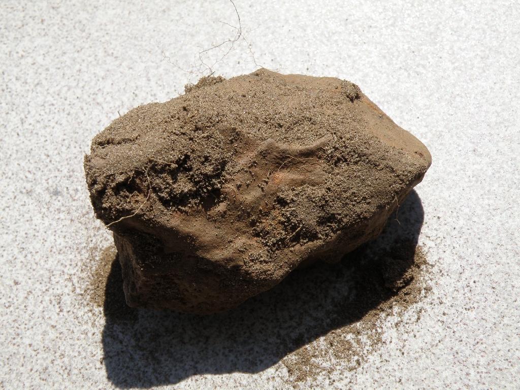Okaz meteorytu Pułtusk - bezpośrednio po znalezieniu w 2009 roku. Spod piasku widać zaokrągloną powierzchnię. Meteoryt ten spadł w 1868 roku - więc ze względu na warunki klimatyczne oraz stosunkowo dużą zawartość żelazo-niklu - rdzewieją one stosunkowo szybko.  Okaz znaleziony przez Roberta Mularczyka