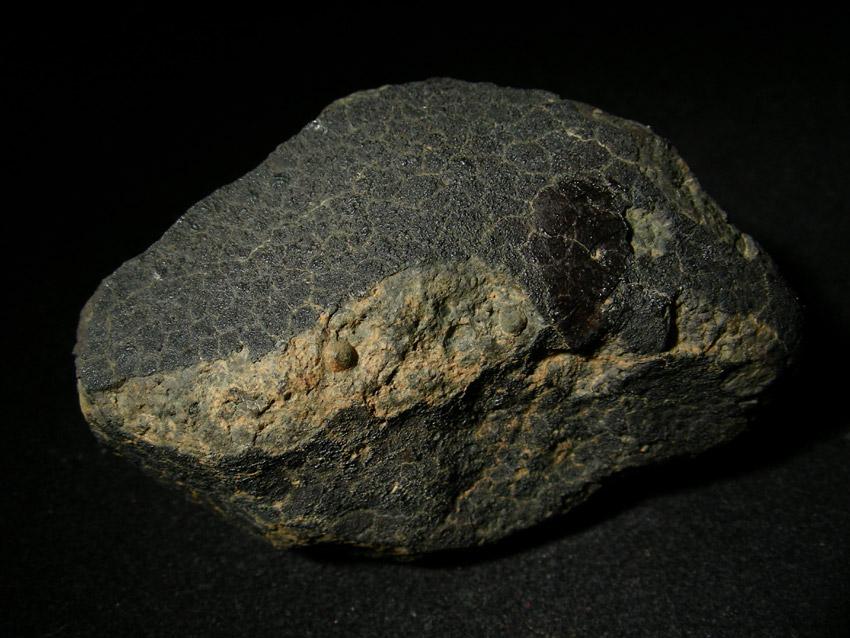 Allende - chondryt węglisty. Skorupa obtopieniowa najczęściej jest szorstka tak jak na tym okazie meteorytu Allende. Cieniutką warstwą pokryta jest większość kamienia.  Źródło zdjęcia:   http://www.meteoritehunter.com/